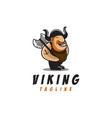 fun viking mascot cartoon logo vector image vector image