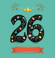 glared floral number twenty six with golden crown vector image