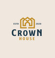 golden crown with roof house logo template vector image