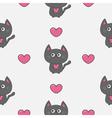 Gray contour cat holding pink heart set Kawaii vector image vector image