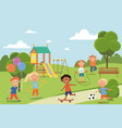 group diverse young friends playing in a park vector image vector image