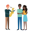 group people with musical instrument vector image vector image
