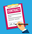 hands of man signing a contract top view vector image