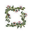 herbal frame green leaves and red berries natural vector image