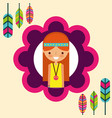 hippie woman feathers bohemian free spirit vector image