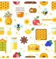 honey and beekeeping pattern vector image