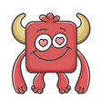 in love red square devil cartoon monster vector image vector image