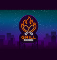 logo chicken grill emblem neon-style sign for vector image vector image