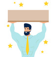 man holding a platform a sign in minimalist vector image vector image