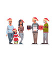 men giving present gift boxes to women multi vector image vector image