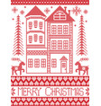 merry christmas gingerbread house pattern vector image vector image