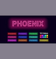 neon name of phoenix city vector image