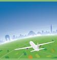 new delhi skyline flight destination vector image