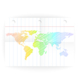 notepad ruled blank page with folds and map vector image vector image