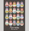 poster with nesting dolls matryoshka set vector image vector image