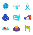 radio lighthouse icons set cartoon style vector image vector image