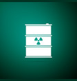 radioactive waste in barrel on green background vector image vector image