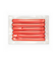 realistic vacuum pack of the fresh sausages vector image