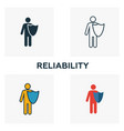 reliability icon set four elements in diferent vector image