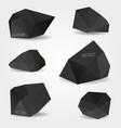 set abstract black modern crystal shapes can vector image