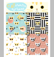 Set of animal seamless patterns with cat 2 vector image vector image
