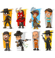 set of cartoon bad guys characters vector image vector image