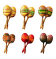 set of mexican maracas musical instrument vector image