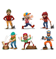 Six men with axes vector image
