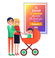 smiling parents with child in cart against quote vector image