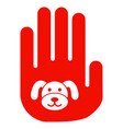stop hand puppy flat icon vector image vector image