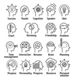 Stroke line pictogram icons set of human brain vector image
