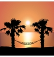 Sunset on the Beach on Hammock vector image vector image