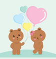 sweet bears couple valentine green vector image