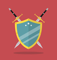 Swords and shield flat style vector image vector image
