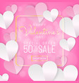 valentines day sale background calligraphy on vector image