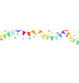 white holiday banner with colorful flags and vector image