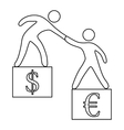 Euro vs dollar icon outline style vector image