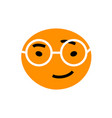 abstract orange face with cool smile wearing vector image