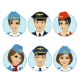 air crew member avatars of pilots and stewardesses vector image vector image