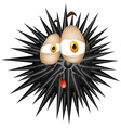 Black thorny ball with sad face vector image