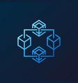 blockchain crypto blue line icon on dark vector image