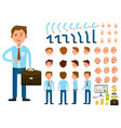 businessman person character creation set vector image vector image