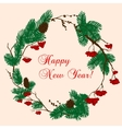 Christmas and New Year wreath with red berries vector image vector image