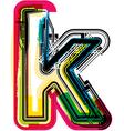 Colorful Grunge font LETTER k vector image vector image