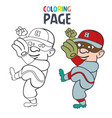 coloring page with baseball player cartoon vector image vector image