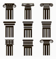 column icons set ancient architecture pillars vector image vector image