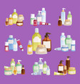 cosmetic bottles template pack cosmetology vector image vector image