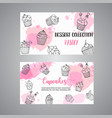 cupcake cards with handdrawn cupcakes and pink vector image vector image