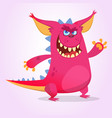 cute cartoon pink dragon troll vector image