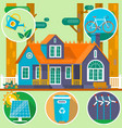 ecological house in forest clean environment vector image